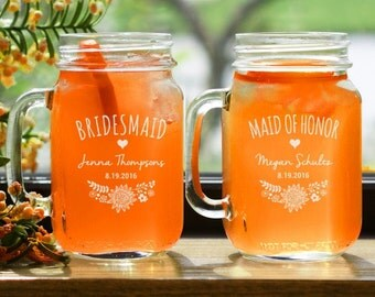 Personalized Bridesmaids Mason Jar, Bridal Party Mason Jar