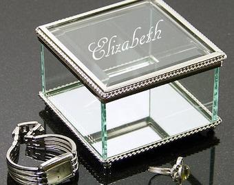 Personalized Engraved Jewelry Box, Glass Jewelry Case, Bridesmaids Jewelry Box