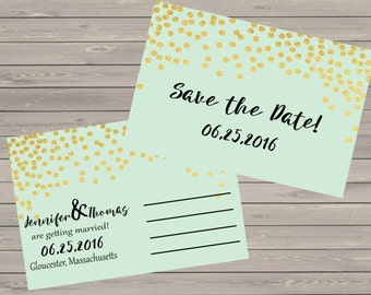 Mint and Glitter Save the Dates Postcard