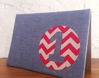 Handmade fabric greeting card - 1st birthday