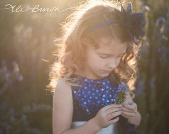 NAVY Flower Girl Headband Flower ClipFlower Headband Many Colors