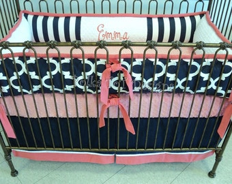 Coral and Navy Baby Girl's Bedding: Emma