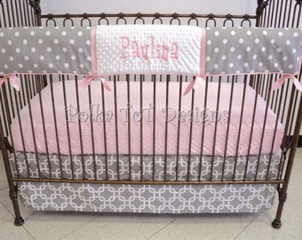 Bumperless Baby Bedding Pink & Gray Paulina 3 piece