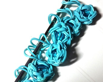 Stitch Markers/Rainbow Loom/Opaque Turquoise Flowers
