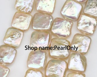 12-13mm square shape keshi pearl strands,natural oragne pink color,large keshi pearls,good quality,large hole pearls 1mm,1.5mm,34pcs