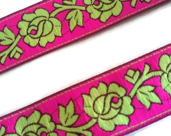 Neon colors Jacquard Trim Designer Lace Fabric Trim Indian Lace Easy Sewing Thread work lace-Width 02 cm-Price for 1 Yard-IDL326