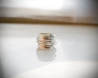 Silver statement ring, Double rings