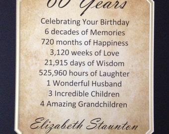 "60th Birthday Gift Personalized Print 11"" X 14"" Idea for Mother Father Mom Dad Grandma Grandpa Wife Husband Sixty Year Milestone"
