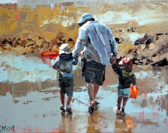 Giclee, original art print, of my, impressionist oil, modern painting, perfect art decor, for a, beach house, 'Dad & The Boys'.