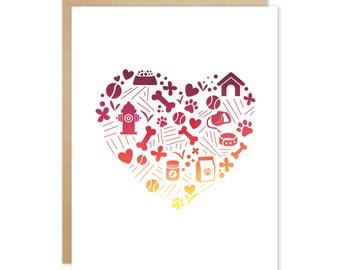 Handmade Blank Greeting Card – Doggie Pattern Heart