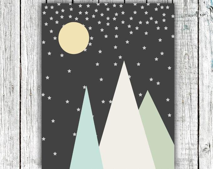 Nursery Printable, Mountains, Stars, Moon, Baby Boy, Modern, Digital Download Size 8x10 #552