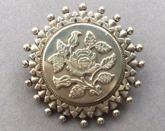 Victorian Sterling Silver Locket Brooch