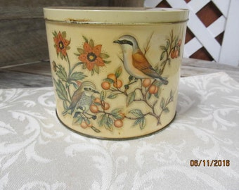 Vintage Daher Tin Box Company Beautiful Bird Tin Can Canister Container 1/2 Circle Made in England