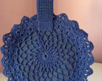 1940'S Replica Blue Crochet Circle Bag with Wristlet Handle