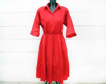 Hold for Gia--80s Size Large Red Collar Dress - Red Pin Up Dress Red Button Up Polo Dress - Red Retro Dress - Vintage Work Dress 50s Style