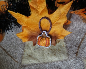 Autumn Harvest Pumpkin Cross Stitch Charm (for Keychains, Bags, Purses, and/or Zippers)