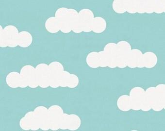 Seafoam Aqua Clouds Organic Fabric - By The Yard - Girl / Boy / Neutral