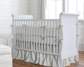 Neutral Baby Crib Bedding / Boy Baby Bedding / Girl Crib Bedding: Solid Silver Gray 2-Piece Crib Bedding Set by Carousel Designs