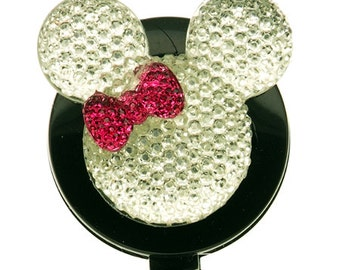 White Mouse Purple Bow ID Badge Reel - Mickey Mouse - Minnie Mouse - Retractable Badge Reel - Disney Badge - badge holder