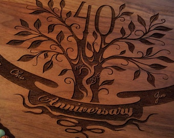 40th Anniversary gift / Engraved Maple or Walnut / 40th Wedding Anniversary Gift