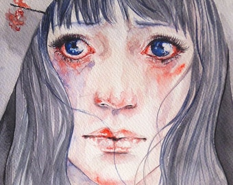 ORIGINAL WATERCOLOR PAINTING: Her sad eyes would still be searching