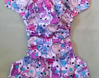 One Size Pocket Cloth Diaper - Cute Kitties