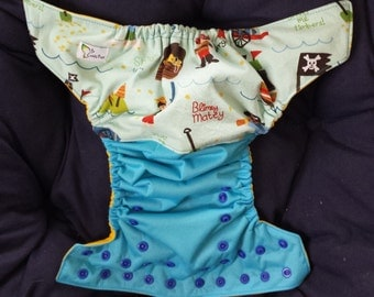 One Size Pocket Cloth Diaper - Pirate Ships