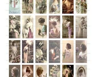 INSTANT DOWNLOAD Vintage Women Domino Images Printable Graphic Design Digital Collage Sheet Domino Designs Digital Graphics Digital Download