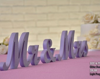 Purple Glitter, Mr & Mrs wooden sign, Sweetheart table, Wedding, Mr and Mrs Wood Wedding Decoration, Glitter,Glitter Mr and Mrs