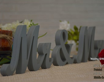 Painted Mr & Mrs And Wedding Table Decor, Sweetheart Table Mr and Mrs