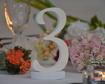 Glitter Table Numbers, SET 1/15, White Table Numbers, Glitter Table Numbers, Silver Table Numbers