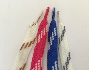 Striped Polyester Shoelace, 40 inches long, pink shoelace, blue shoelace