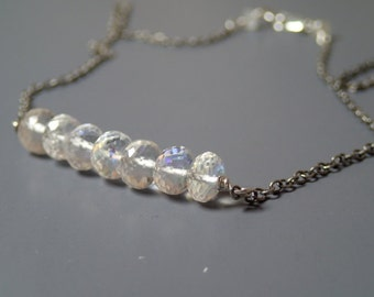 Rainbow crystal quartz and sterling silver necklace, April birthstone necklace, carrie necklace, bridal necklace