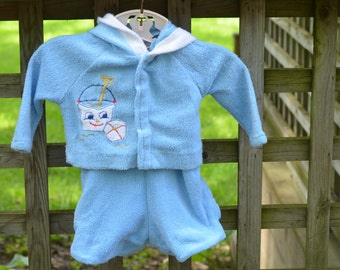 70s Baby Boy Terry Cloth Romper Blue Sunsuit and Jacket Beach Wear Applique Sand Pail and Shovel 6 Months