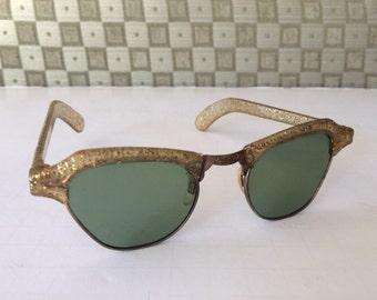 Vintage Gold Glitter Fleck Plastic and Metal Sunglasses Pinup Madmen