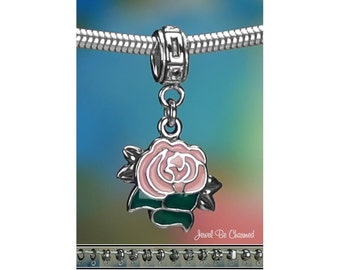 Sterling Silver Pink Rose Charm or European Style Charm Bracelet .925