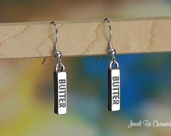Sterling Silver Stick of Butter Earrings Fishhook Earwires Solid .925