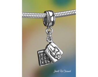 Sterling Silver Box of Chocolates Charm or European Charm Bracelet 925