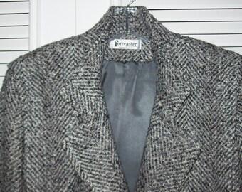 Coat 12, Forecaster Herringbone Wool Three-Quarter Winter Find Size 12