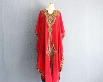 Moroccan Dubai Red Kaftan Dress,  Plus Size Maxi Caftan Dress Chiffon Kaftans, Red Caftans Kaftans, Gold Embroidery Kaftan Dress
