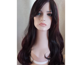 Ombre brown and red hair Daily wig Long wavy curly