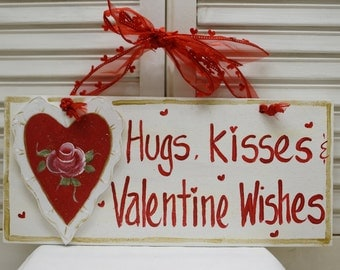 Valentine's Day Hugs & Kisses Hand Painted Wood Sign