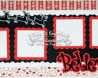 Scrapbook Page Kit Merry Christmas Santa Believe Boy Girl Baby 2 page Scrapbook Layout 17