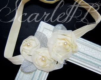 Ivory Chiffon 3D Rose Flower baby Girl Headband, Girl Hair Accessories