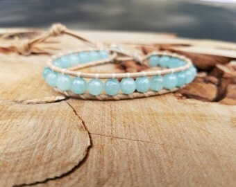 Leather Wrap Bracelet On Natural Leather With 6mm Faceted Amazonite Beads