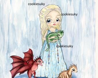 Daenerys Mother of Dragons GOT Illustration Print