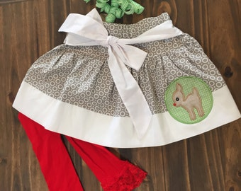 Reindeer Christmas Skirt.....READY TO SHIP