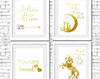 "INSTANT DOWNLOAD - Set of 4 Prints - GOLD Unicorn- Printable Nursery Wall Art Print 8""x10"" (jpeg file) Bedroom Decor"