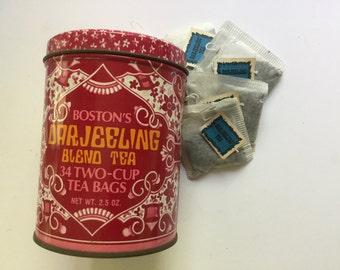 70's pink white orange Boston's Darjeeling Tea tin