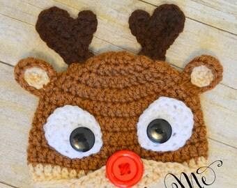 READY TO SHIP~Baby Reindeer Hat-Crochet Reindeer Photo Prop/Baby Gift!